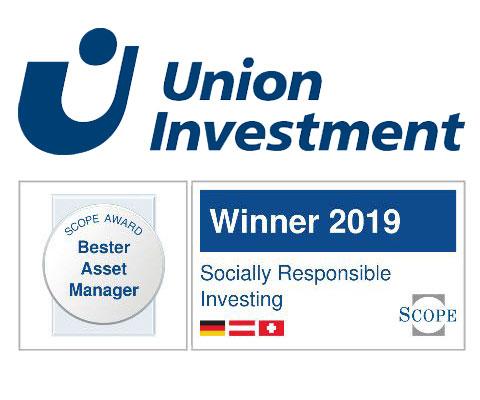 "Scope Award 2019 Gewinner ""Bester Asset Manager"" im Bereich ""Socially Responsible Investing"": Union Investment"